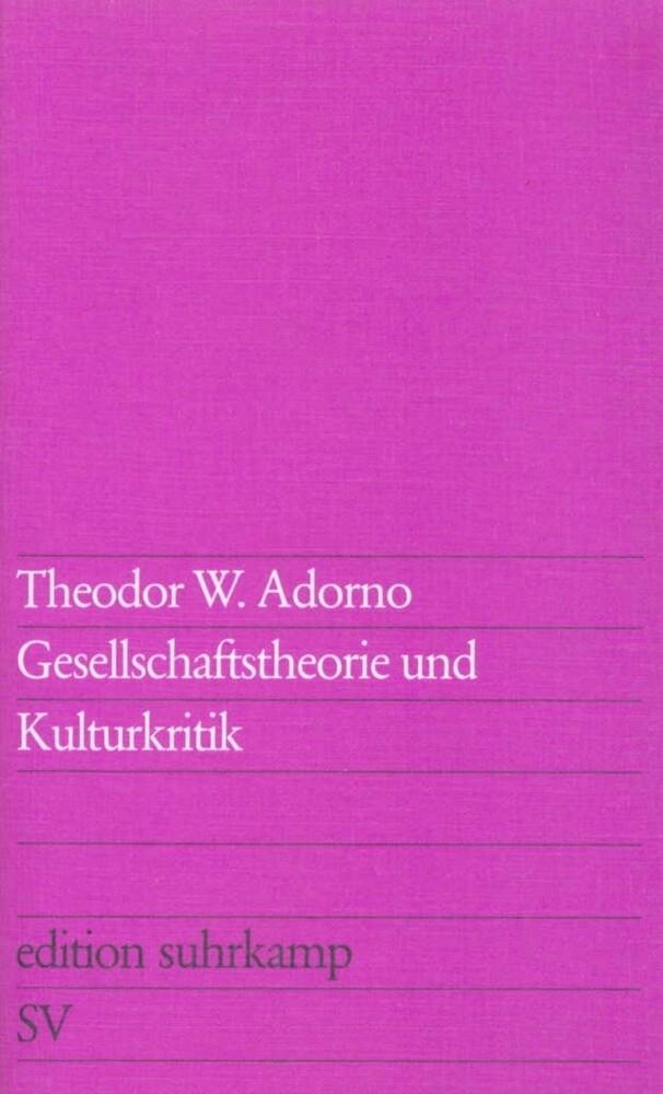Gesellschaftstheorie und Kulturkritik als Taschenbuch