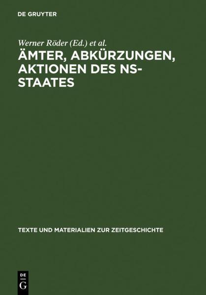 Ämter, Abkürzungen, Aktionen des NS-Staates als Buch