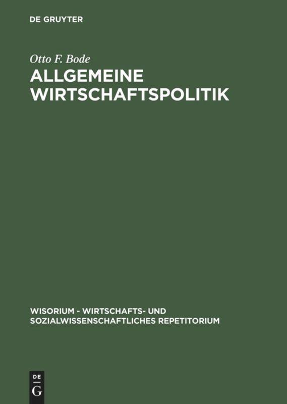Allgemeine Wirtschaftspolitik als Buch