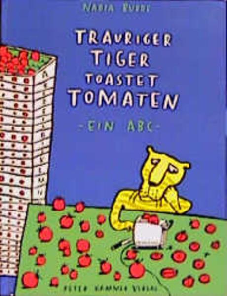 Trauriger Tiger toastet Tomaten als Buch