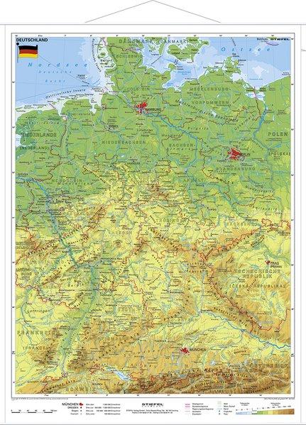 Deutschland physisch im Miniformat 1 : 1 700 000. Wandkarte als Buch