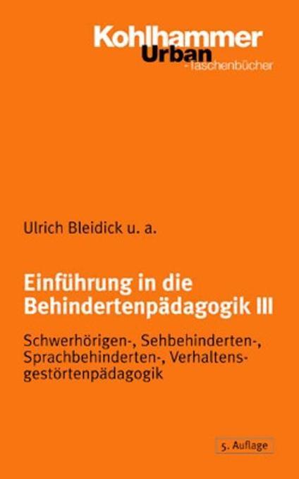 Einführung in die Behindertenpädagogik 3 als Buch