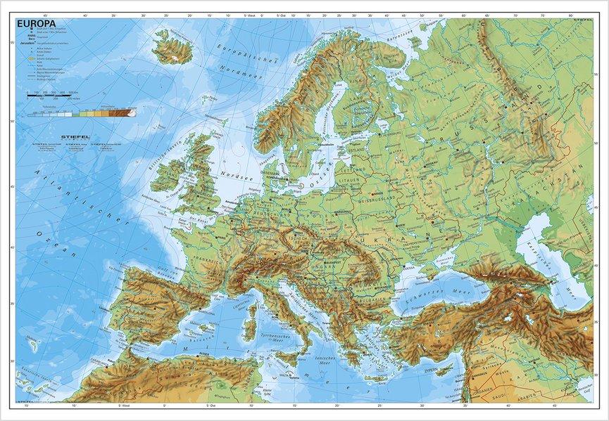 Europa, physisch 1 : 7 500 000. Wandkarte Kleinformat ohne Metallstäbe als Buch