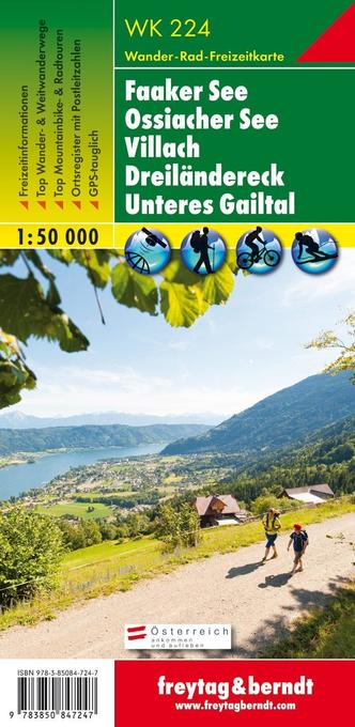 WK 224 Faaker See - Ossiacher See - Villach - Dreiländereck - Unteres Gailtal, Wanderkarte 1:50.000 als Buch