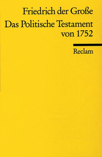 Das Politische Testament von 1752 als Taschenbuch
