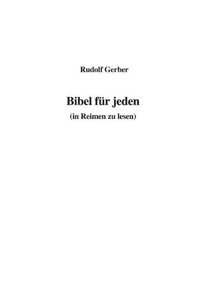 Bibel für jeden (in Reimen zu lesen) als Buch