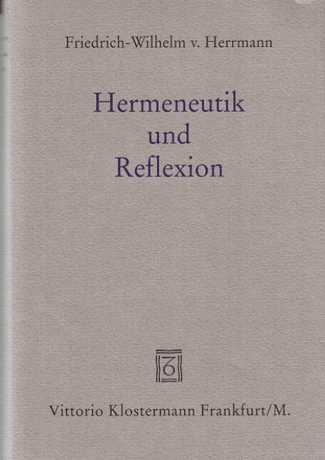 Hermeneutik und Reflexion als Buch