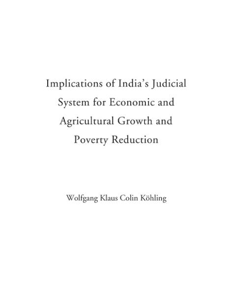 Implications of India's Judicial System of Economic and Agricultural Growth and Poverty Reduction als Buch