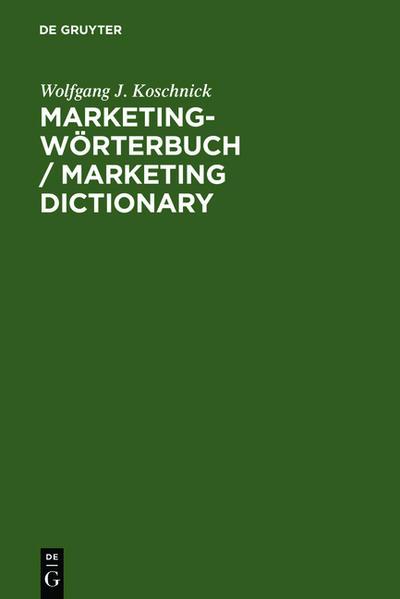 Marketing-Wörterbuch / Marketing Dictionary als Buch