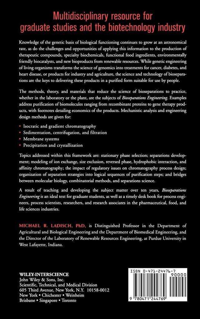 Bioseparations Engineering: Principles, Practice, and Economics als Buch
