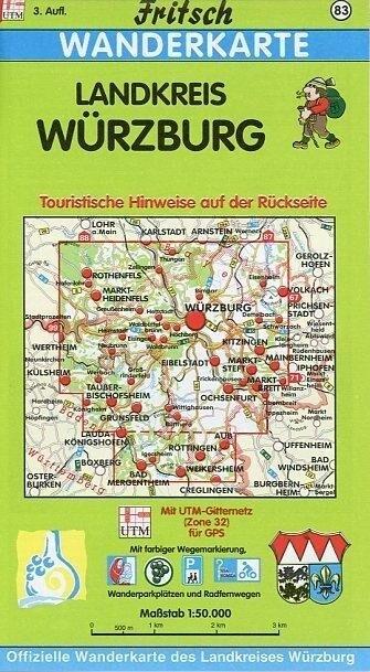 Landkreis Würzburg 1 : 50 000. Fritsch Wanderkarte als Buch