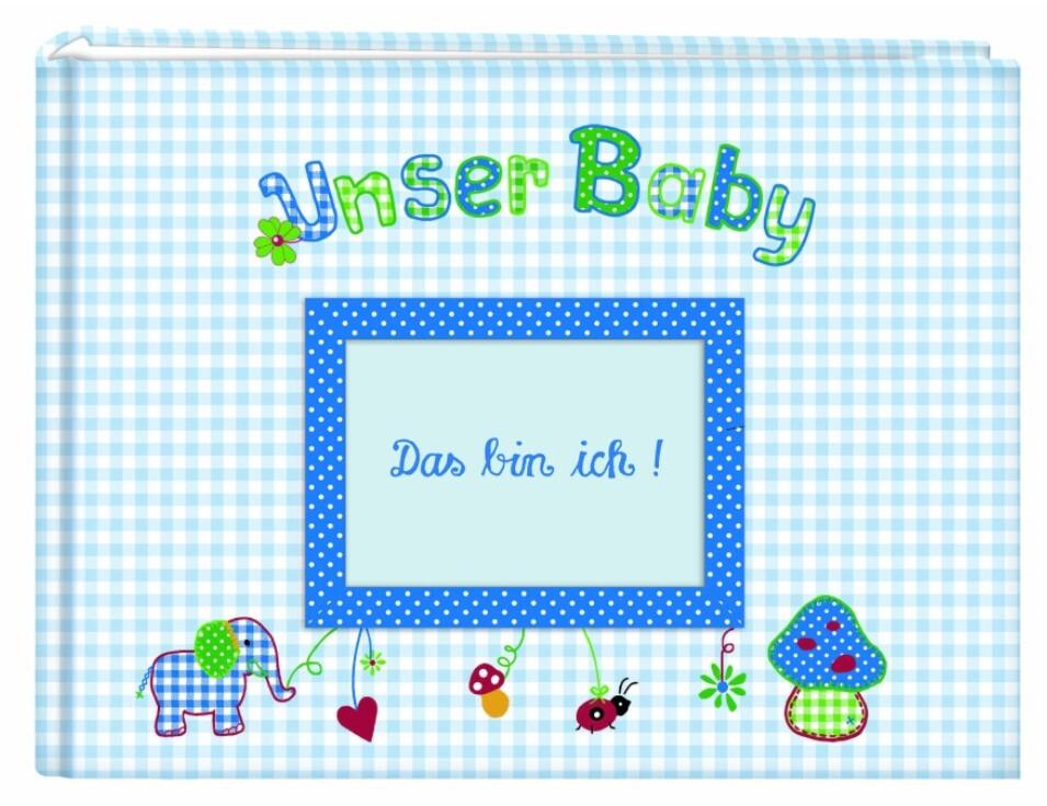 Unser Baby (hellblau). Großes Stoff-Fotoalbum