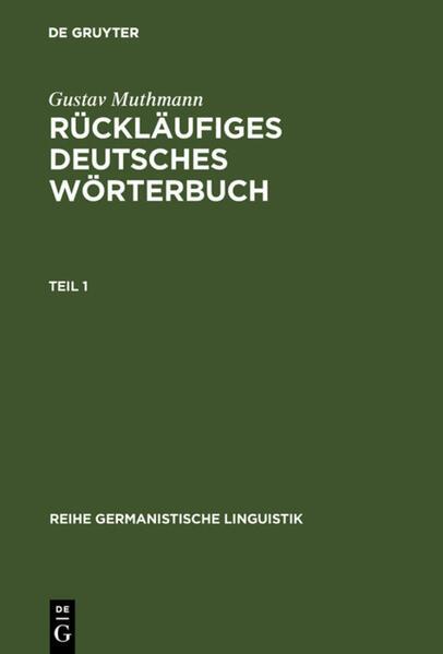 Rückläufiges deutsches Wörterbuch als Buch