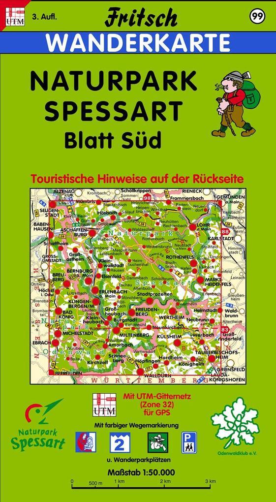 Naturpark Spessart Blatt Süd 1 : 50 000. Fritsch Wanderkarte als Buch