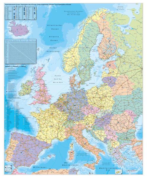 Europa Organisationskarte 1 : 3 600 000. Wandkarte Großformat mit Metallstäben als Buch
