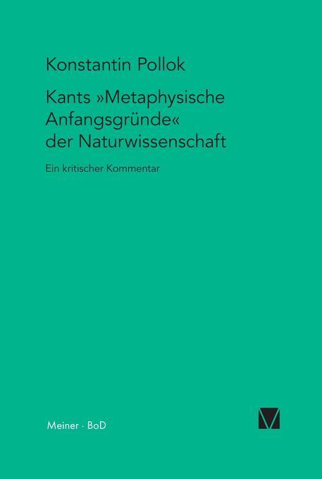 Kants Metaphysische Anfangsgründe der Naturwissenschaft als Buch
