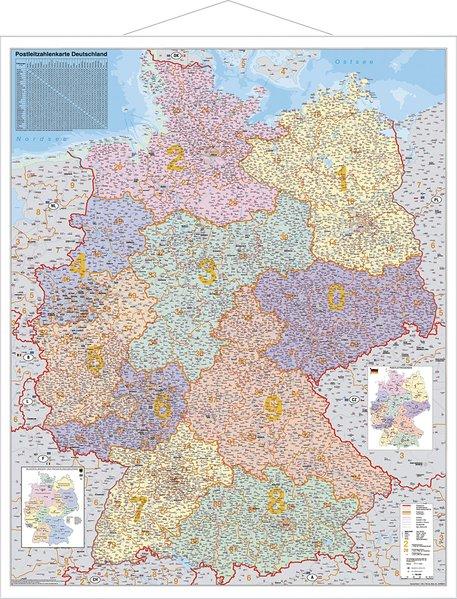 Postleitzahlen-Karte Deutschland 1 : 750 000. Wandkarte Grossformat mit Metallstäben als Buch
