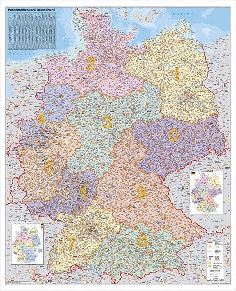 Deutschland Postleitzahlenkarte 1 : 750 000. Wandkarte Grossformat ohne Metallstäbe als Buch