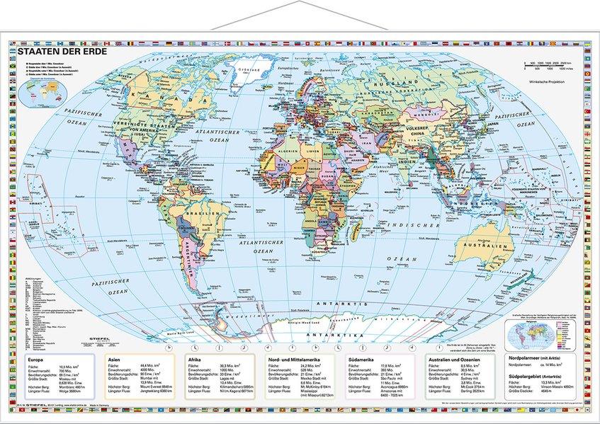 Staaten der Erde, politisch 1 : 40 000 000. Wandkarte Kleinformat mit Metallstäben als Buch