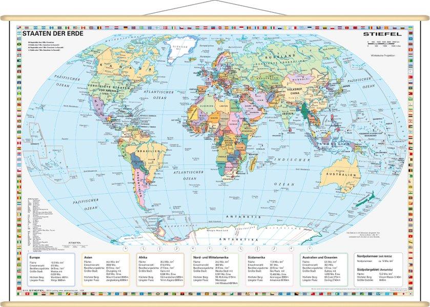 Staaten der Erde, politisch 1 : 60 000 000. Wandkarte Mini-Format als Buch