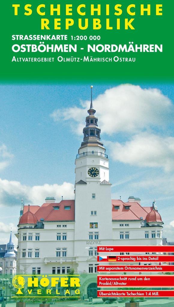 Höfer Tschechische Republik. CS003. Ostböhmen, Nordmähren 1 : 200 000. Straßenkarte als Buch