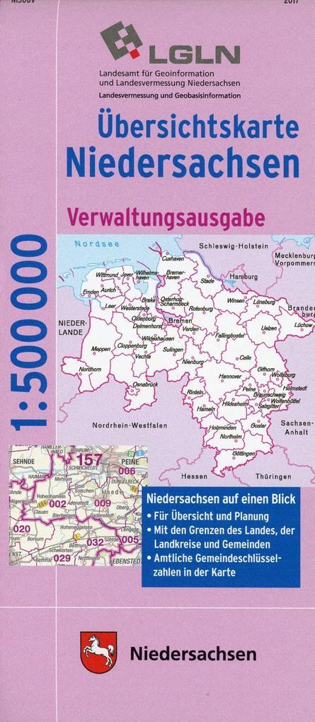 Übersichtskarte Land Niedersachsen 1 : 500 000. Verwaltungsausgabe als Buch