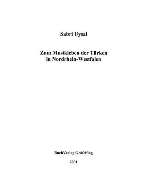 Zum Musikleben der Türken in Nordrhein-Westfalen als Buch
