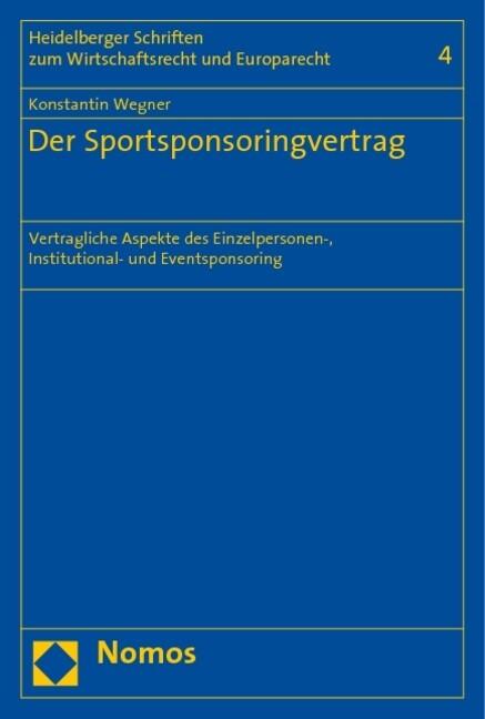 Der Sportsponsoringvertrag als Buch