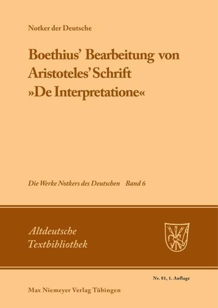 Boethius' Bearbeitung von Aristoteles' Schrift »De Interpretatione« als Buch