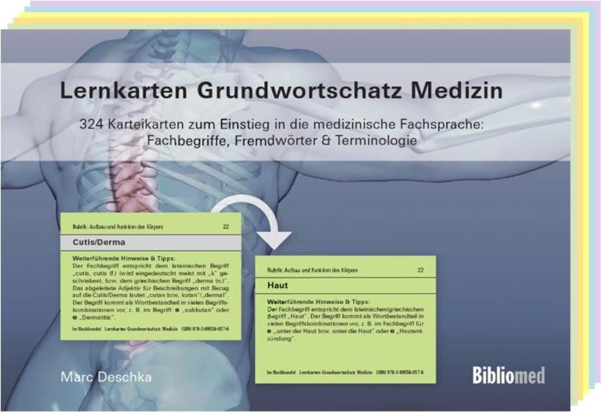 Lernkarten Grundwortschatz Medizin - 324 Karteikarten zum Einstieg in die medizinische Fachsprache: Fachbegriffe, Fremdwörter & Terminologie als Buch