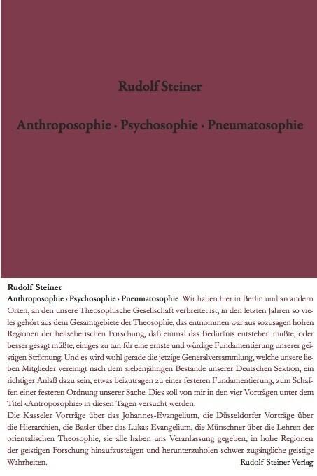 Anthroposophie - Psychosophie - Pneumatosophie als Buch