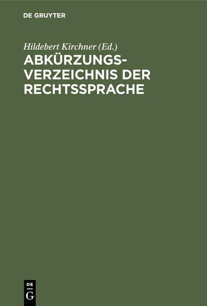 Abkürzungsverzeichnis der Rechtssprache als Buch