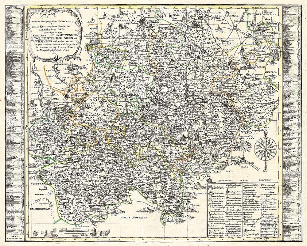 Historische Karte: Erzgebirge - Erzgebirgischer Kreis 1761 (Plano) als Buch
