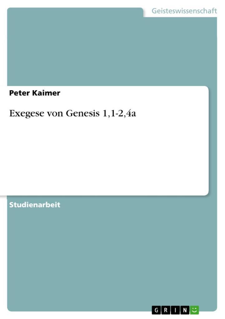 Exegese von Genesis 1,1-2,4a als eBook epub