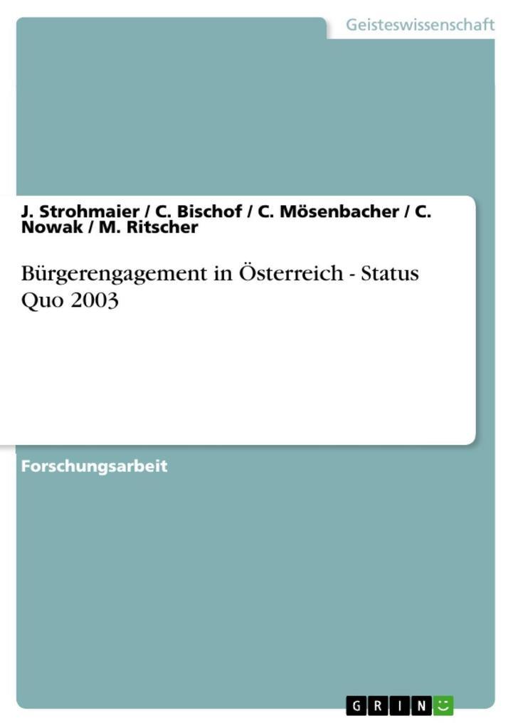 Bürgerengagement in Österreich - Status Quo 2003