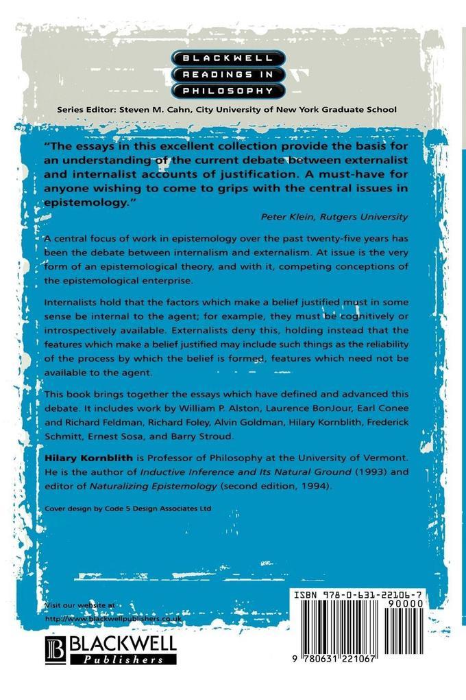 Epistemology Internalism Externalism als Taschenbuch