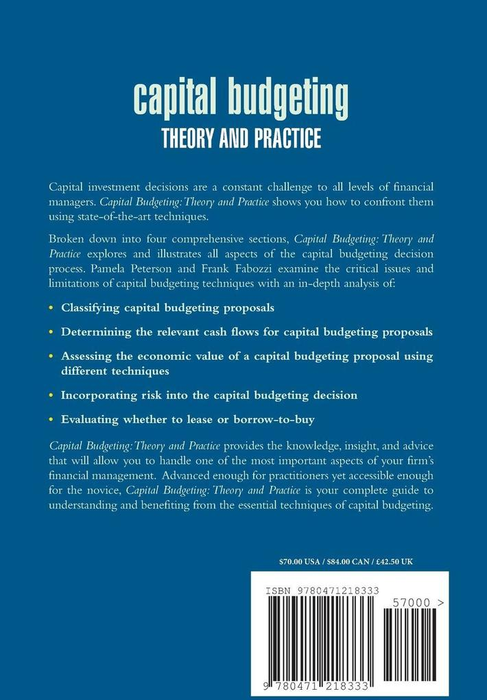 Capital Budgeting: Theory and Practice als Buch