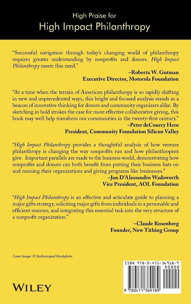 High Impact Philanthropy: How Donors, Boards, and Nonprofit Organizations Can Transform Communities als Buch