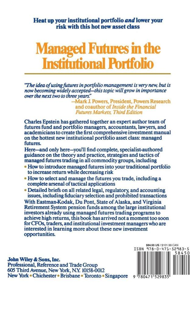 Managed Futures in the Institutional Portfolio als Buch