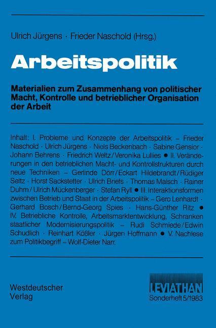 Arbeitspolitik als Buch (kartoniert)