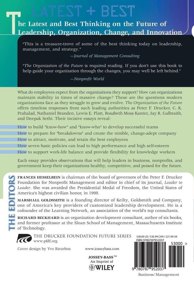 The Drucker Foundation, the Organization of the Future als Taschenbuch