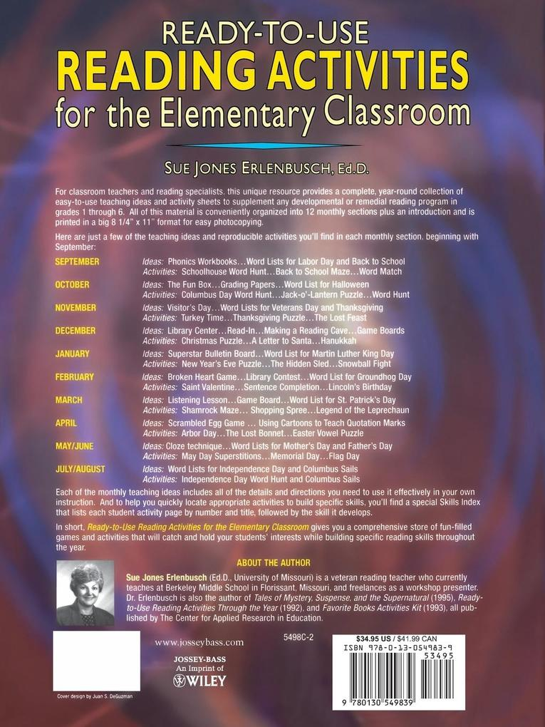 Ready-To-Use Reading Activities for the Elementary Classroom als Taschenbuch