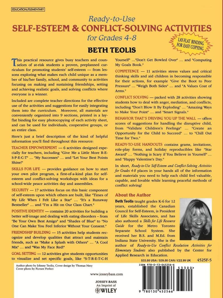 Ready-To-Use Self-Esteem & Conflict Solving Activities for Grades 4-8 als Taschenbuch