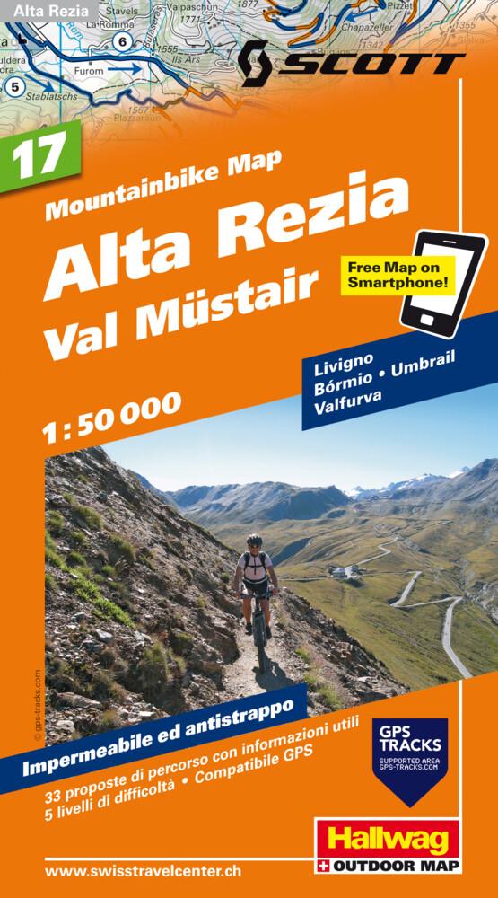 Mountain-Bike Karte 17. Alta Rezia, Livigno, Bormio, Val Müstair 1 : 50 000 als Buch