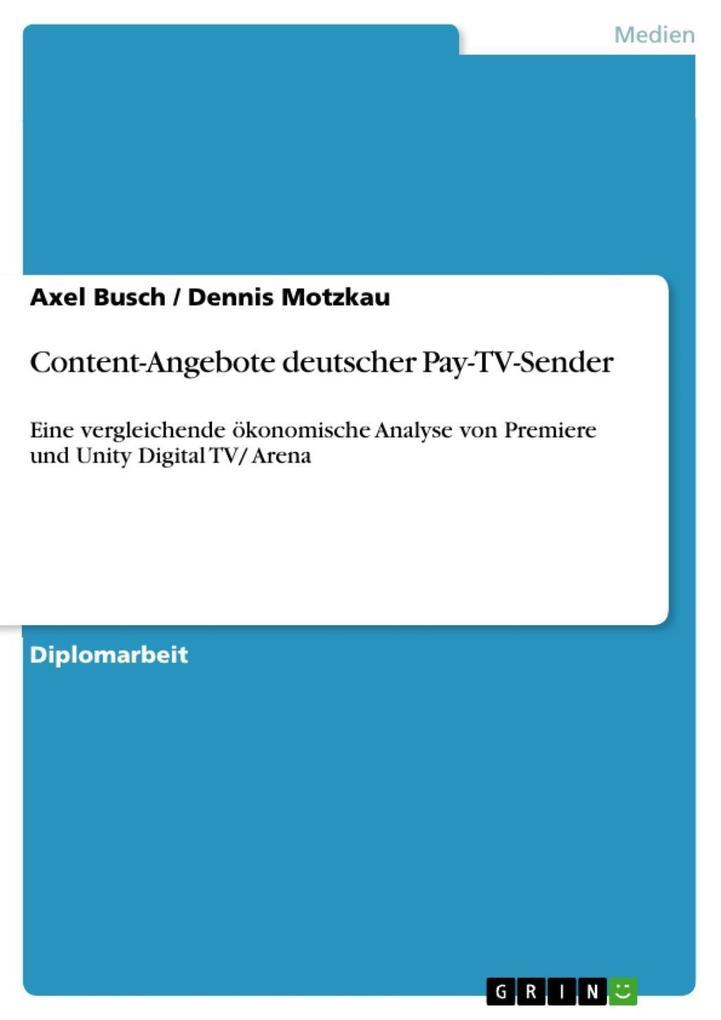 Content-Angebote deutscher Pay-TV-Sender als eB...