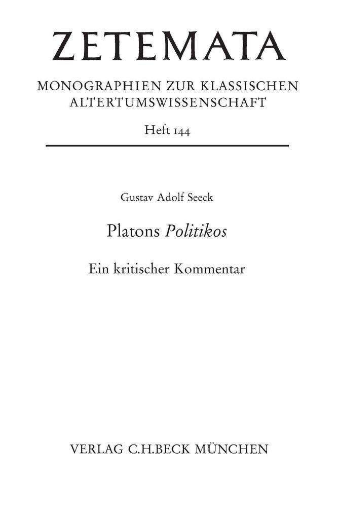 Platons Politikos als Buch