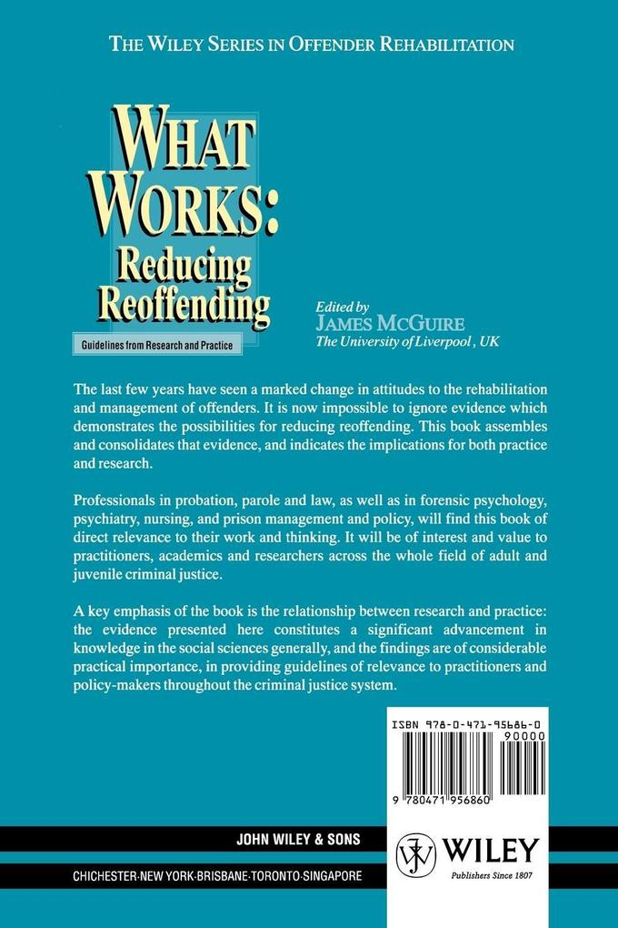 What Works: Reducing Reoffending Guidelines from Research and Practice als Buch