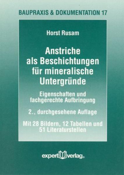 Anstriche als Beschichtungen für mineralische Untergründe als Buch
