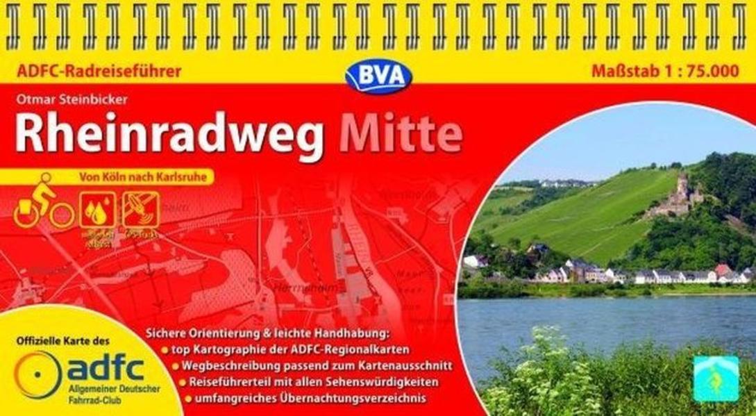 ADFC Radreiseführer Rheinradweg Mitte 1 : 75 000 als Blätter und Karten