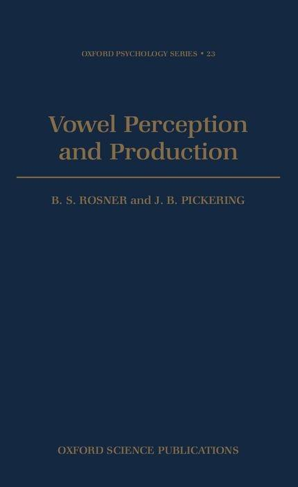 Vowel Perception and Production als Buch